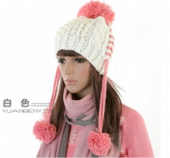 2012 New Design Warm and lovely Knitted Beanie Hat Language Option  French