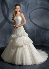 2012 latest Strapless ball gown appliques organza beading bridal wedding dress