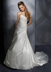 2012 latest strapless A-line  embroidery satin  bridal wedding dress