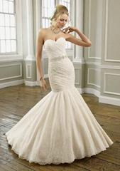 Elegant strapless sweetheart mermaid  lace  beading  bridal wedding dress