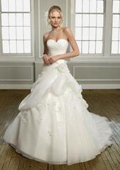 Fashion strapless ball gown handmade flower bridal wedding dress