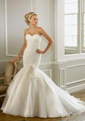 Fashion strapless mermaid floor-length  handmade flower bridal wedding dress