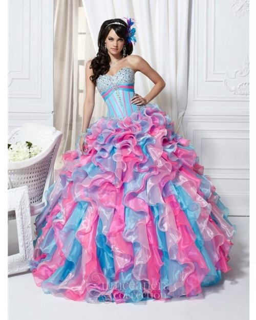 8030b0a5042 Fashion strapless ball gown blue and pink quinceanera dress (China ...