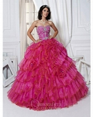 Fashion strapless ball gown red embroidery organza prom dress
