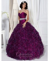Fashion strapless ball gown  beading  organza prom dress
