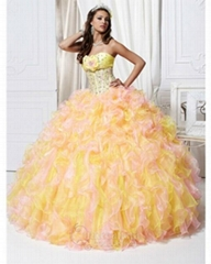 2012 newest strapless ball gown  beading  organza prom dress