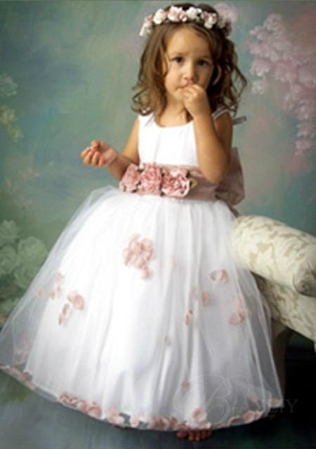2012  scoop handmade flower A-line flower girl dress 1