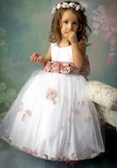 2012  scoop handmade flower A-line flower girl dress