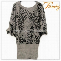 2013 leopard knitted cardigan sweater for women