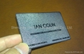 Silver sandblasted background etched Stainless steel business card