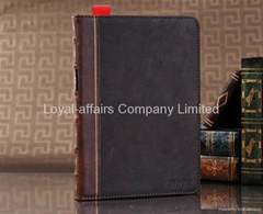 New arrival book style hardback leather case stand for New ipad mini