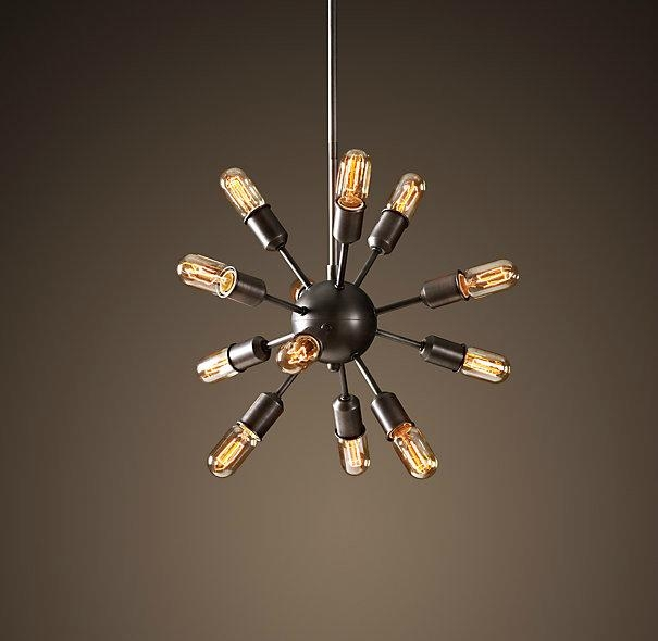 vintage rh restoration sputnik filament chandelier aged. Black Bedroom Furniture Sets. Home Design Ideas