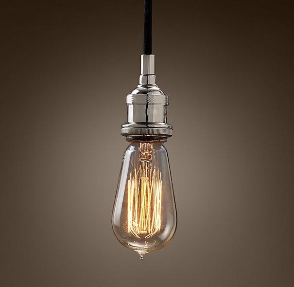 Edison Bare Bulb Filament Pendant Aged Steel Edison Bare