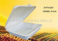 Disposable biodegradable cornstarch 9 inch lunch box