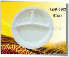 Disposable biodegradable cornstarch 9 inch three compartment plate