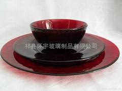 红色玻璃餐具套装