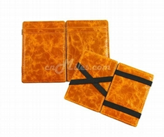 Distressed leather magic wallet