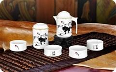 高檔骨瓷竹節茶具