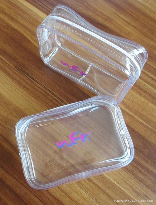 Fashion Clear Logo Printing Tpu Zipper Bag Wfk C014
