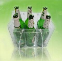 Clear vinyl handle 6 packs wine bottle