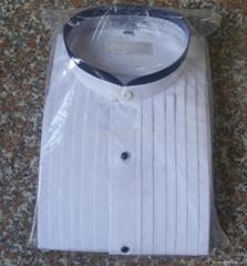 mens round collar with black trim formal tuxedo shirt