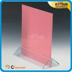 Clear acrylic restaurant menu holder and menu display stand