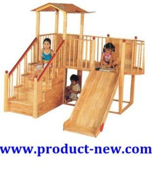 outdoor playground wooden slide kids play equipment playhouse htw 1002 china amusement. Black Bedroom Furniture Sets. Home Design Ideas