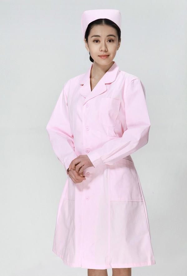 Free Shipping Hospital Nurses Long Sleeve White Lab Coat