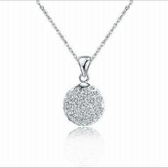 FY-D017 Shambhala crystal ball necklace si  er pendant