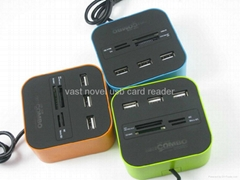 Factory Hotsale 2 in One usb card reader and USB HUB combo with light logo