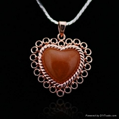 Rose Gold Plated Si  er Jewelry with Heart Pendant