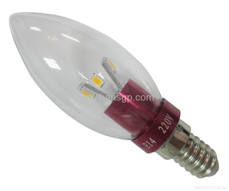 Low carbon 3w E27/E14 Aluminum led candle lamp   1
