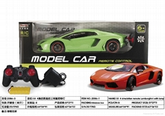 r/c car with recharger battery and light,1:8 green orange