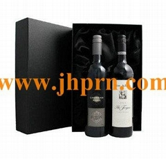 Unique printed cardboard wine box for two bottles