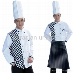 (Free shipping) Dropshipping set of  Chef uniform in bulk sale with pant/shirt