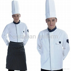 (Free shipping) Restaurant cotton cook clothes with free pant/shirt/apron/hat