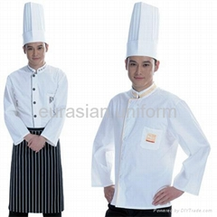 (Free shipping) White style Kitchen chef uniform with free pant/shirt/apron/hat