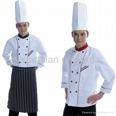 (Free shipping) Long sleeves cook clothing with free pant/shirt/apron/hat