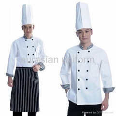 (Free shipping) Winter Long sleeves cook clothes with free pant/apron/shirt/hat