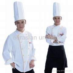 (Free shipping) Advanced chef's wear includes pant/shirt/apron/hat