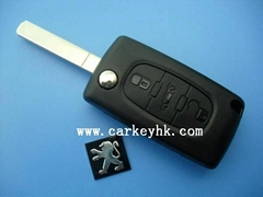 Peugeot 3 button flip key case with battery clamp and VA2 blade