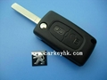 Peugeot flip key with 2 buttons for 307