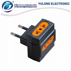 Travel adapter plug with socket