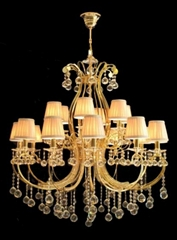 Gold finish rystal lamp with Chinese top crystal
