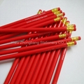 Red paint wooden pencil with red rubber 3