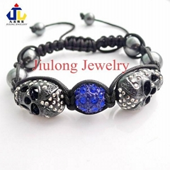 Skull and Crystal Ball and Hematite Bead JL-SL074