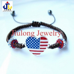 Flag Heart & Crystal Bead  Bracelet JL-SL076