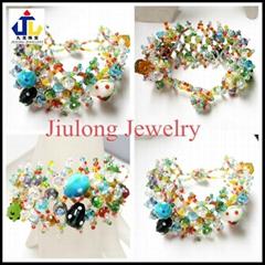 Lampwork Glass Bead Weaving Bracelet JL-SL082