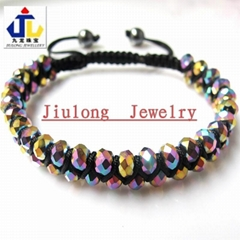 2 Rows Faceted Glass Bead Shamballa Bracelet JL-SL083