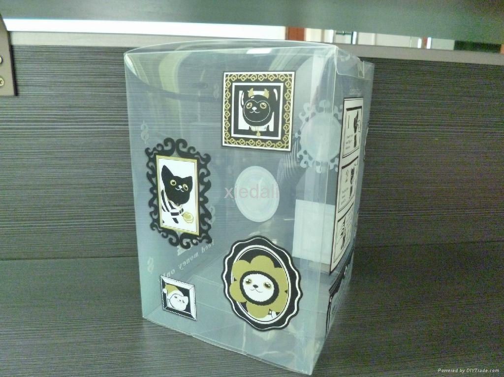 clear plastic box for money bank with cute cat design 2
